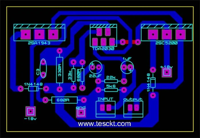 Tda2030 with transistor amplifier PCB