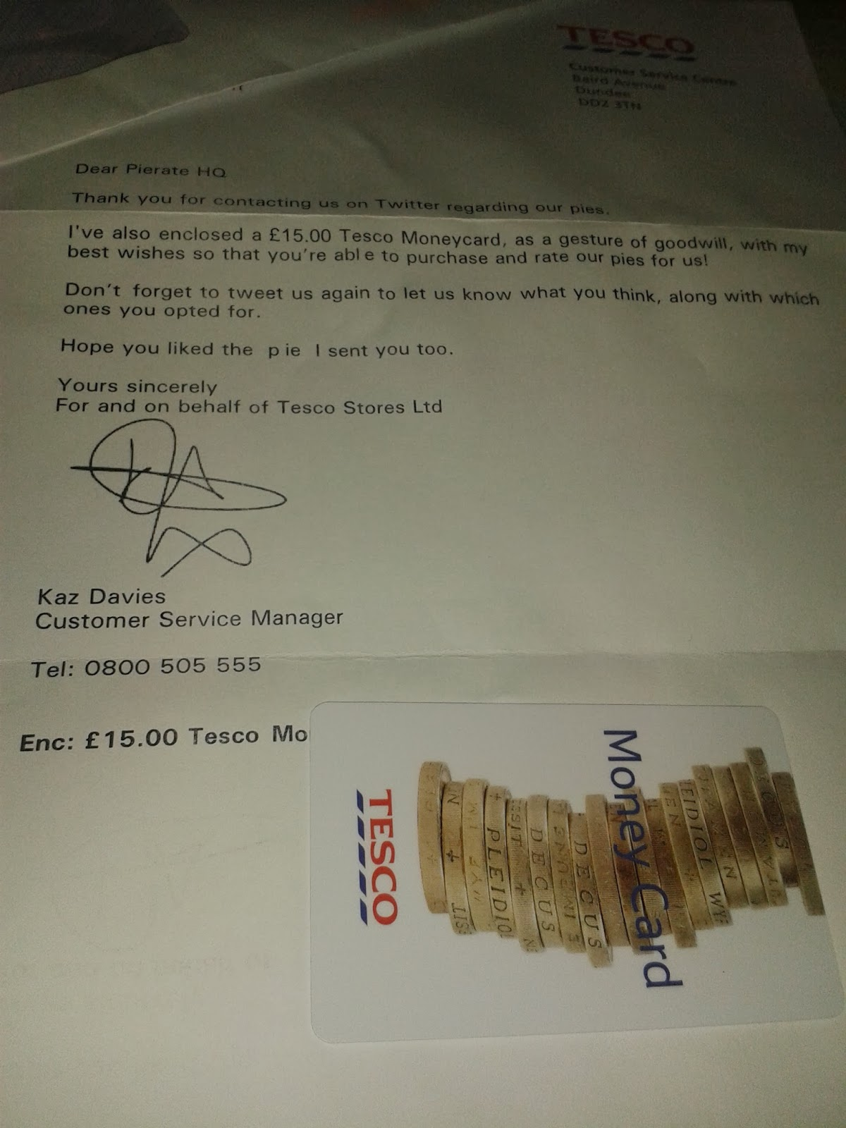 Tesco Pie Review Letter