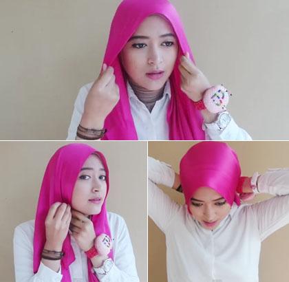 Cara 1 memakai jilbab menutup dada dengan scarf satin