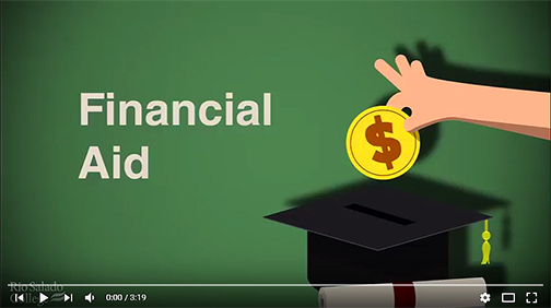 snapshot from video.  Illustrated hand dropping a coin into a grad cap piggy bank.  Text: Financial Aid