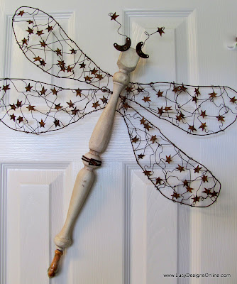 spindle dragonfly with wire wings and stars