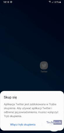 Aplikacja zablokowana w trybie skupienia