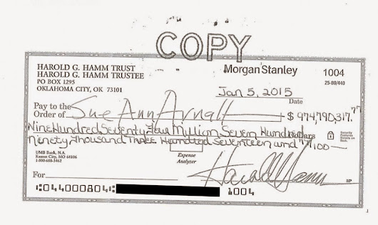Long Tail World: 石油王の10億ドルの離婚:Harold Hamm's $975 Million Divorce Check, Eventually Cashed