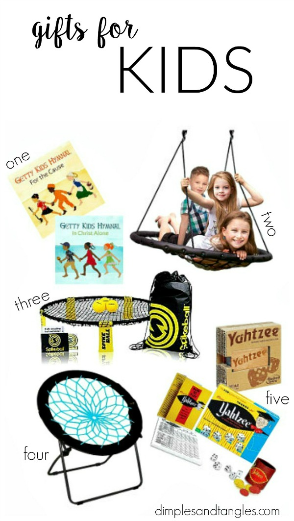 christmas gift ideas, gifts for kids, web swing, bungee chair, getty music, spikeball, yahtzee,