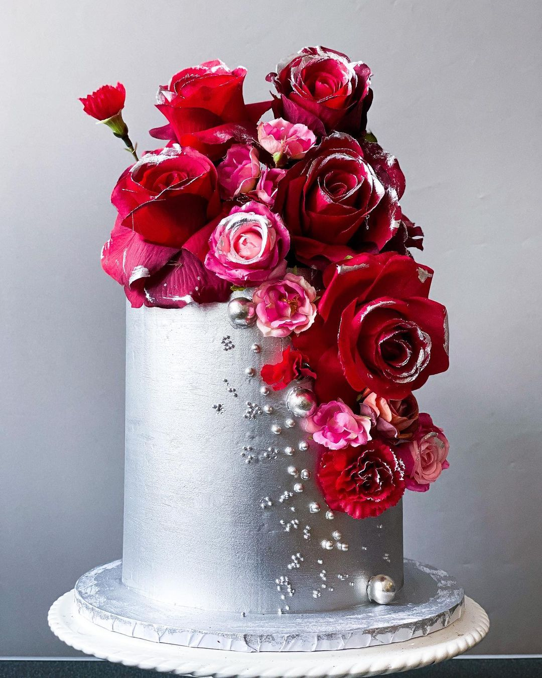 Silver floral cake