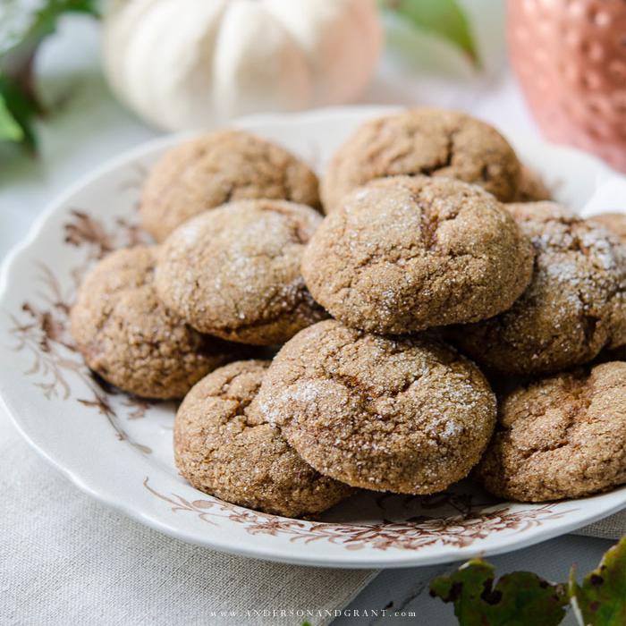 Plate of pumpkin flavored cookies