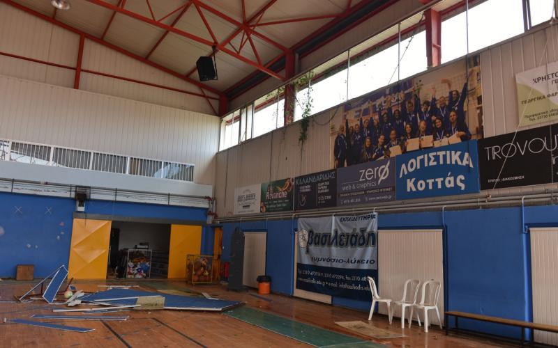 Αποκατάσταση των ζημιών στο Κλειστό Γυμναστήριο Ν. Μουδανιών