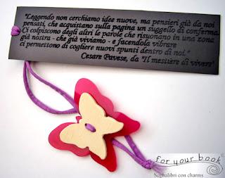 segnalibro inciso frasi personalizzate elastico farfalla