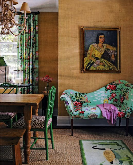Gorgeous colorful florals and grasscloth wallcovering