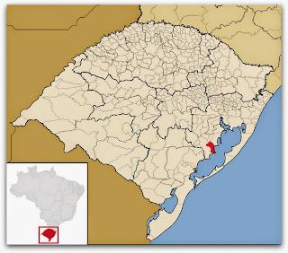 Cidade de Arambaré, no mapa do Rio Grande do Sul