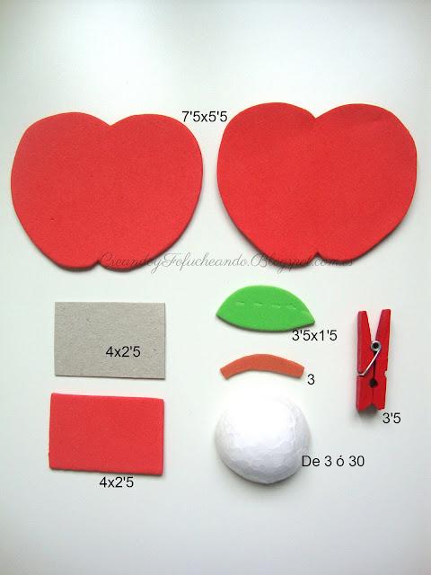 Medidas en centímetros de las piezas para hacer una manzana porta notas en goma eva