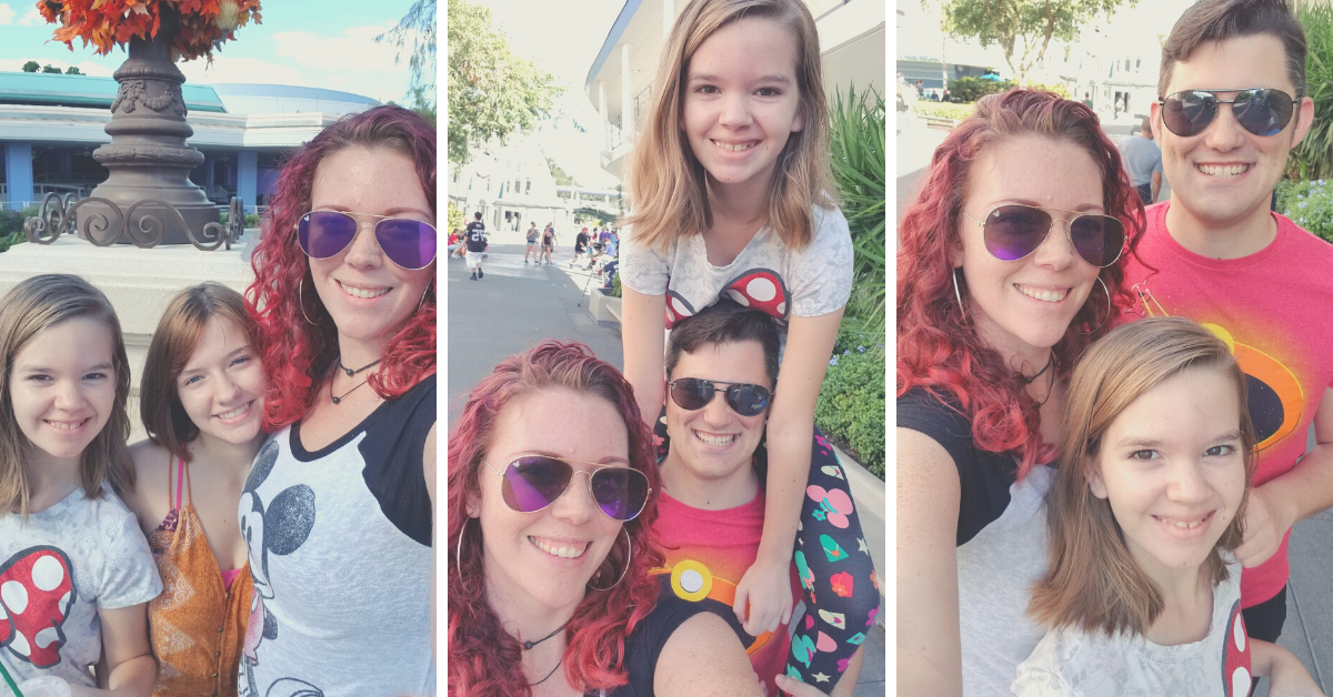 Three photos of a family at Disney, with two daughters, a mom, and a dad.