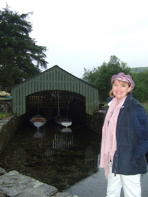 Author Sophie Neville in her Donny Osmond Hat on Coniston Water