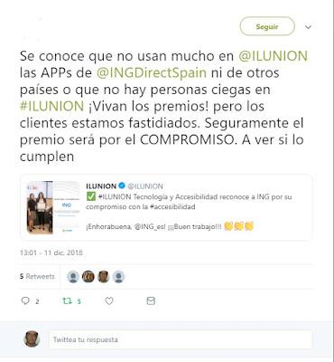 Twitt de un usuario de la app de ing descontento pues no funciona bien