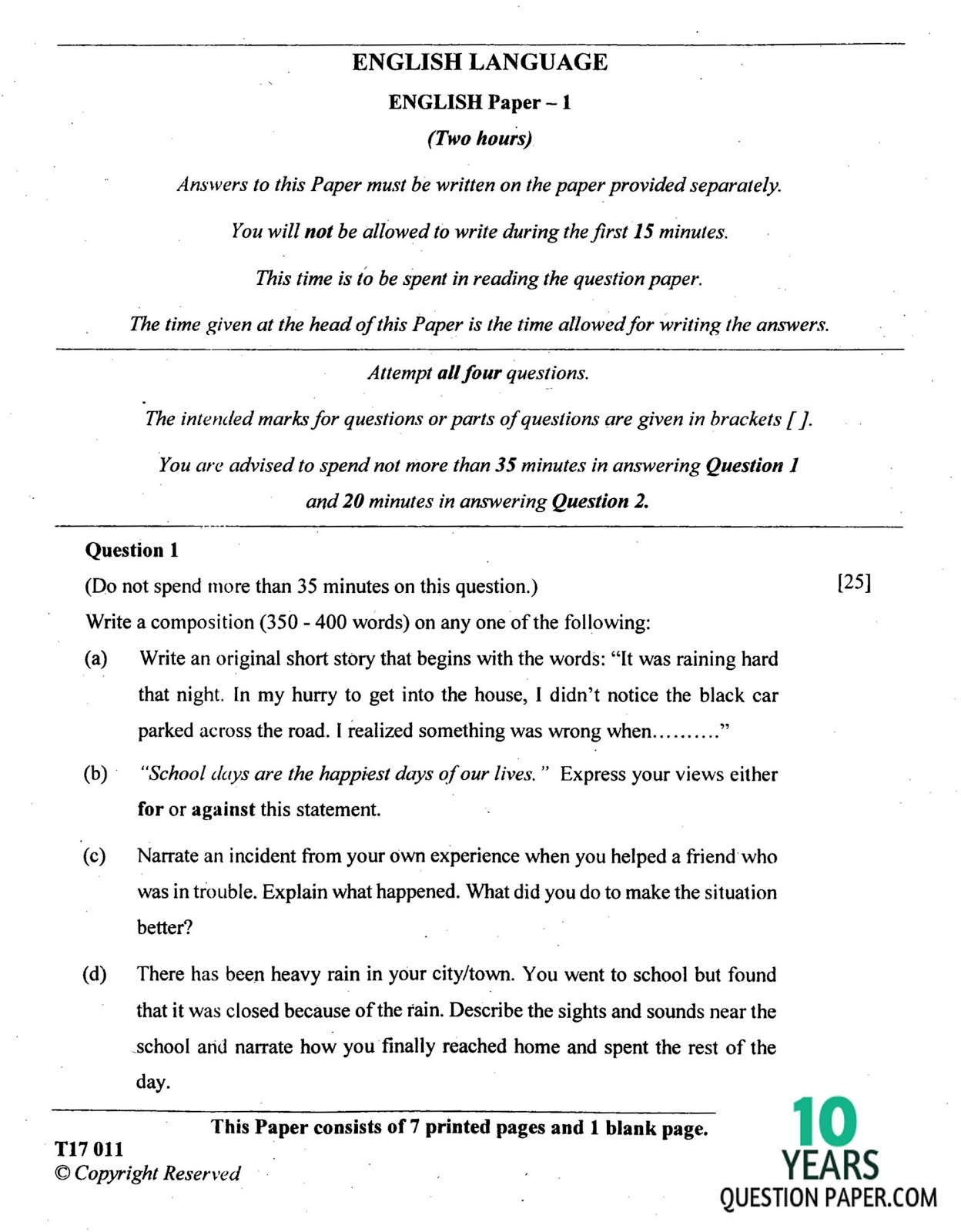 icse english language question paper for class    icse class th english language question paper   the yellow wallpaper critical essay also essay writings in english sample essays high school students