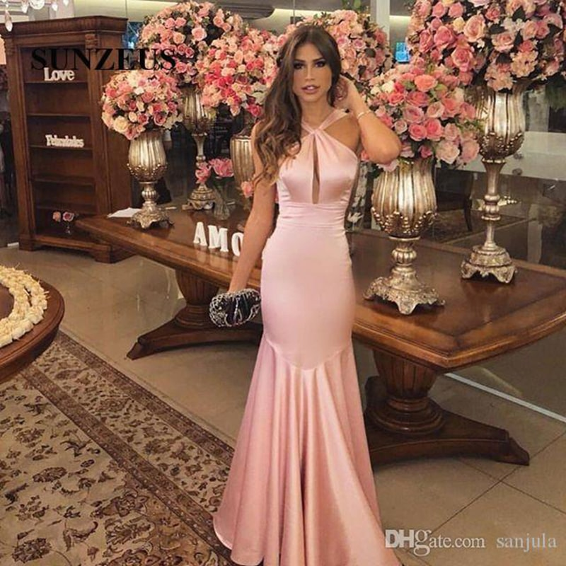 Halter Pink Satin Evening Dresses Long Keyhole Front Mermaid Evening Gowns Simple African Party Dresses for Girls Graduation Gowns