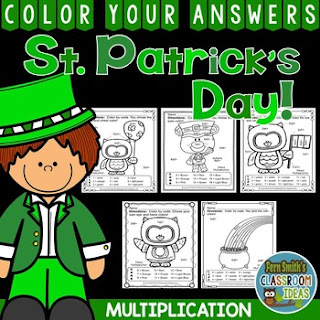 MORE St. Patrick's Day Color By Number Multiplication