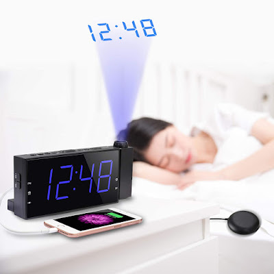 Alarm Clock with Bed Shaker & Projector