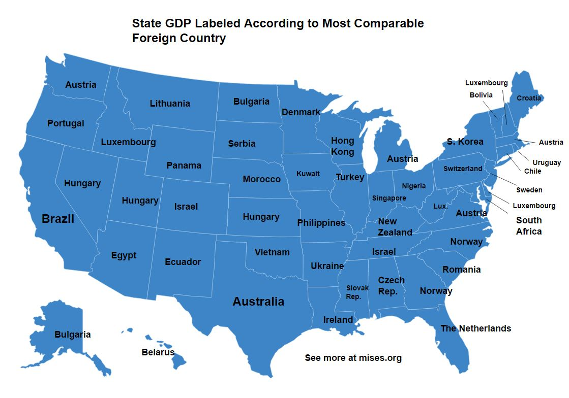 How US States Compare To Foreign Countries In Size And GDP Mises - Us map gdp countries
