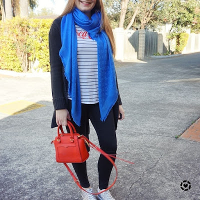awayfromtheblue instagram | vlogger meet up outfit skinny jeans cardigan stripe tee colourful accessories