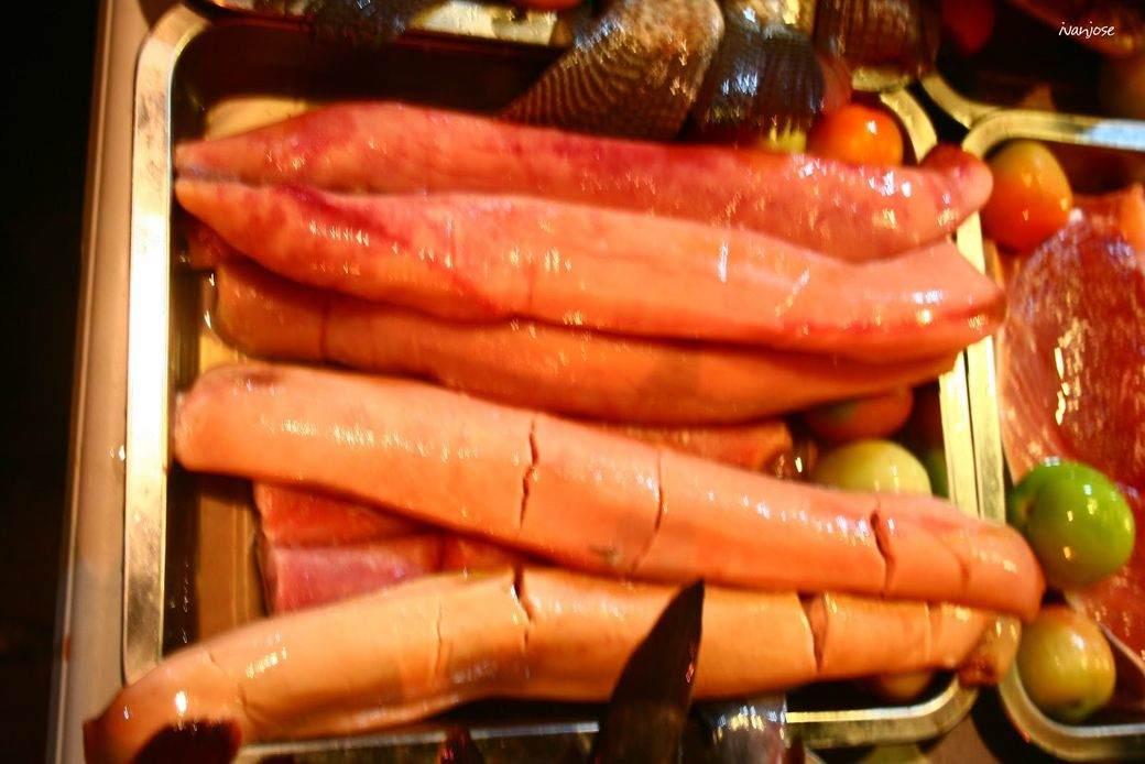 Tuna sperm sacs or bagaybay in Tiongson Arcade in Mindanao
