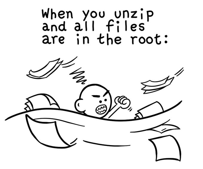 when you unzip and all files are in the_root