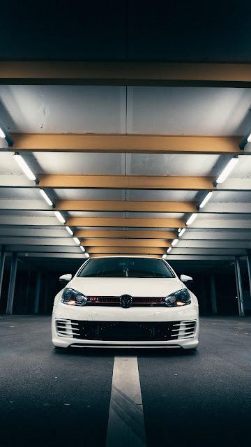 olkswagen Golf GTI, Volkswagen, Car, White, Front View