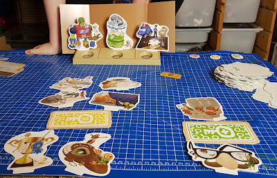One Key Family Game Review gameplay example Clue Cards and screen on table