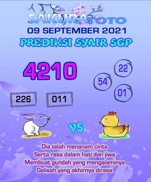 Syair Sakuratoto SGP Kamis 09 September 2021