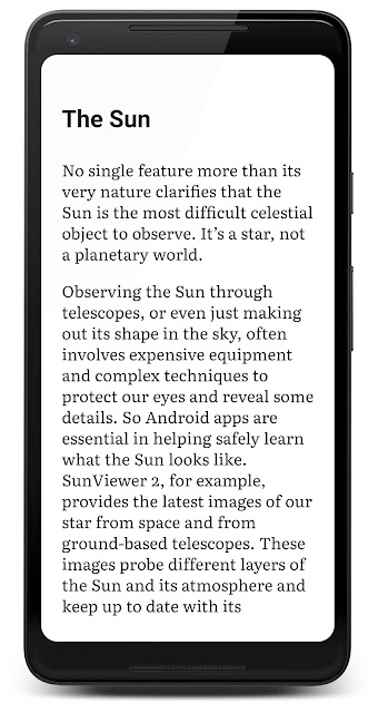 Chapter The Sun of the book Space Apps for Android in Google Play Books on a Pixel 2 XL phone
