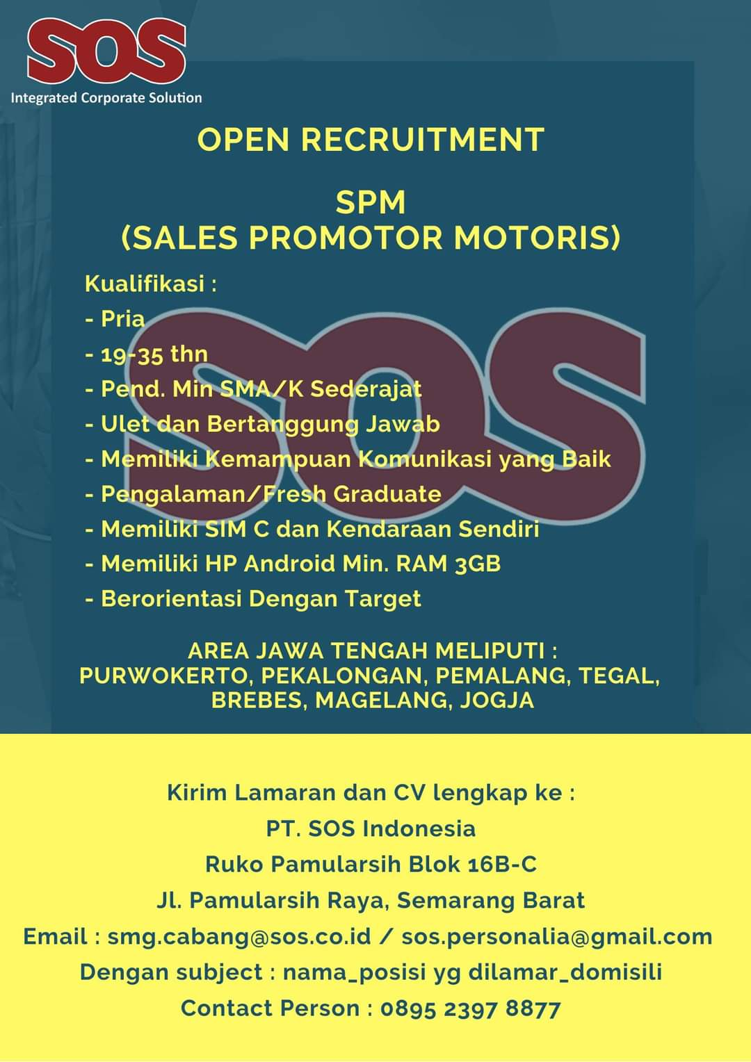 Loker Semar PT Shield-On Service Tbk atau yang dikenal dengan nama SOS adalah salah satu perusahaan alih daya terbesar di Indonesia dengan 13 kantor operasional di kota-kota besar di Indonesia. SOS telah menjadi bagian penting dalam memenuhi kebutuhan tenaga alih daya ribuan pelanggan di Indonesia.