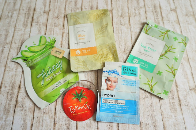 Etude House - I need you Mask, Holika Holika - Juicy Mask Sheet Aloe, Rival de Loop - Hydro Abschwellende Augenkonturpads, Tonymoly - Tomatox
