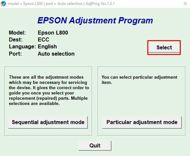 seleccionar modelo impresora epson l800