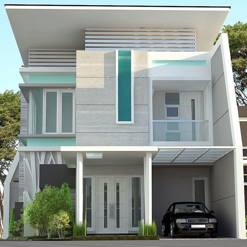 Desain Dan Denah Rumah Lantai 2 Dengan Ukuran 8 X 11 M Kombinasi Tosca Dan Abu Abu Agar Terlihat Cerah Homeshabby Com Design Home Plans Home Decorating And Interior Design