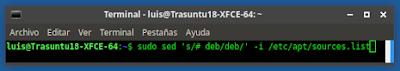 sudo sed 's/# deb/deb/' -i /etc/apt/sources.list