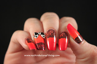 red gradient lace nail art