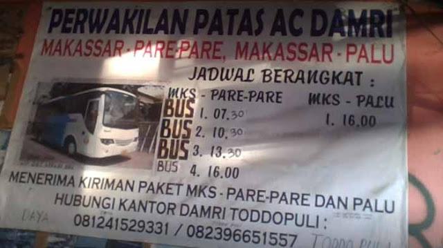 Damri Makassar : Harga Tiket Bus & Jadwal Keberangkatan