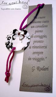 segnalibro inciso elastico ciondolo madreperla farfalla