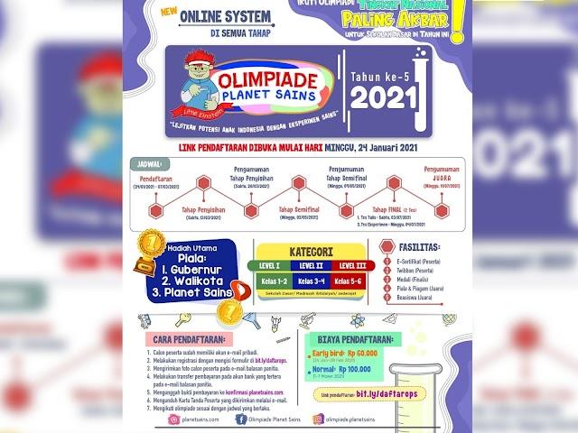 Planet Sains Kembali Menyelenggarakan Olimpiade Planet Sains 2021 Tahun Ke-5 Tingkat Nasional