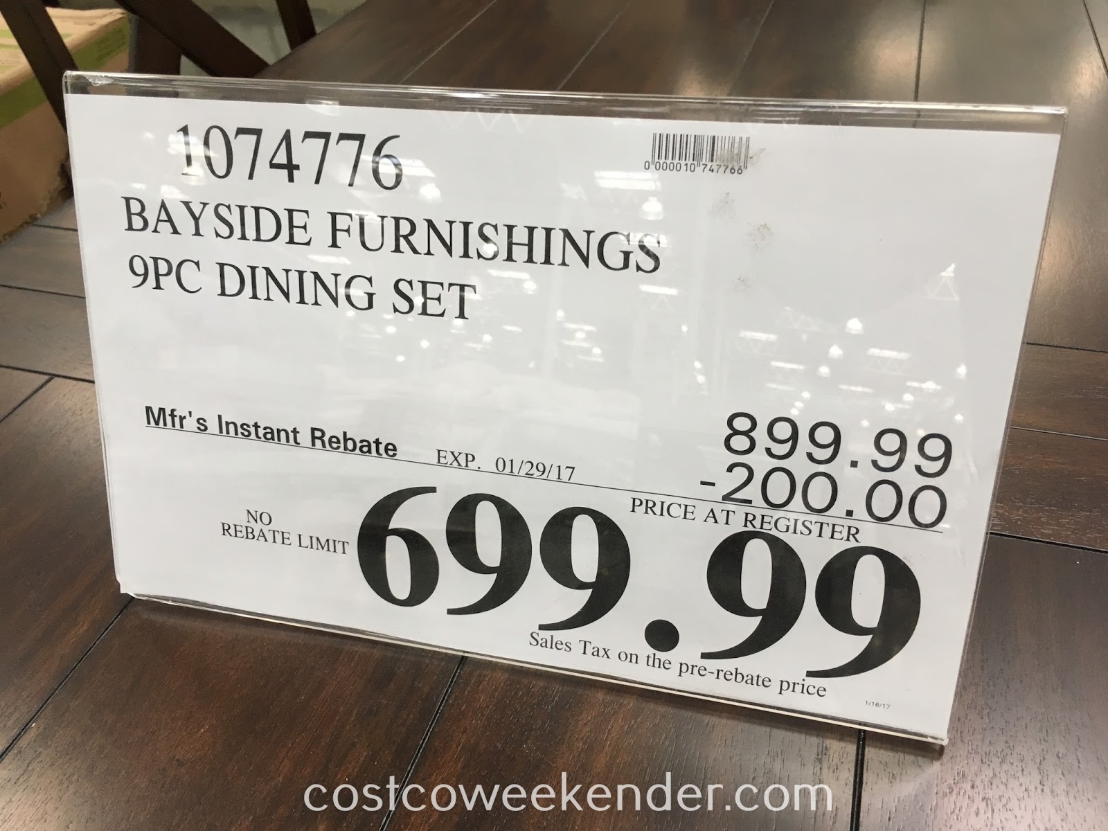 Deal for the Bayside Furnishings 9-piece Dining Set at Costco