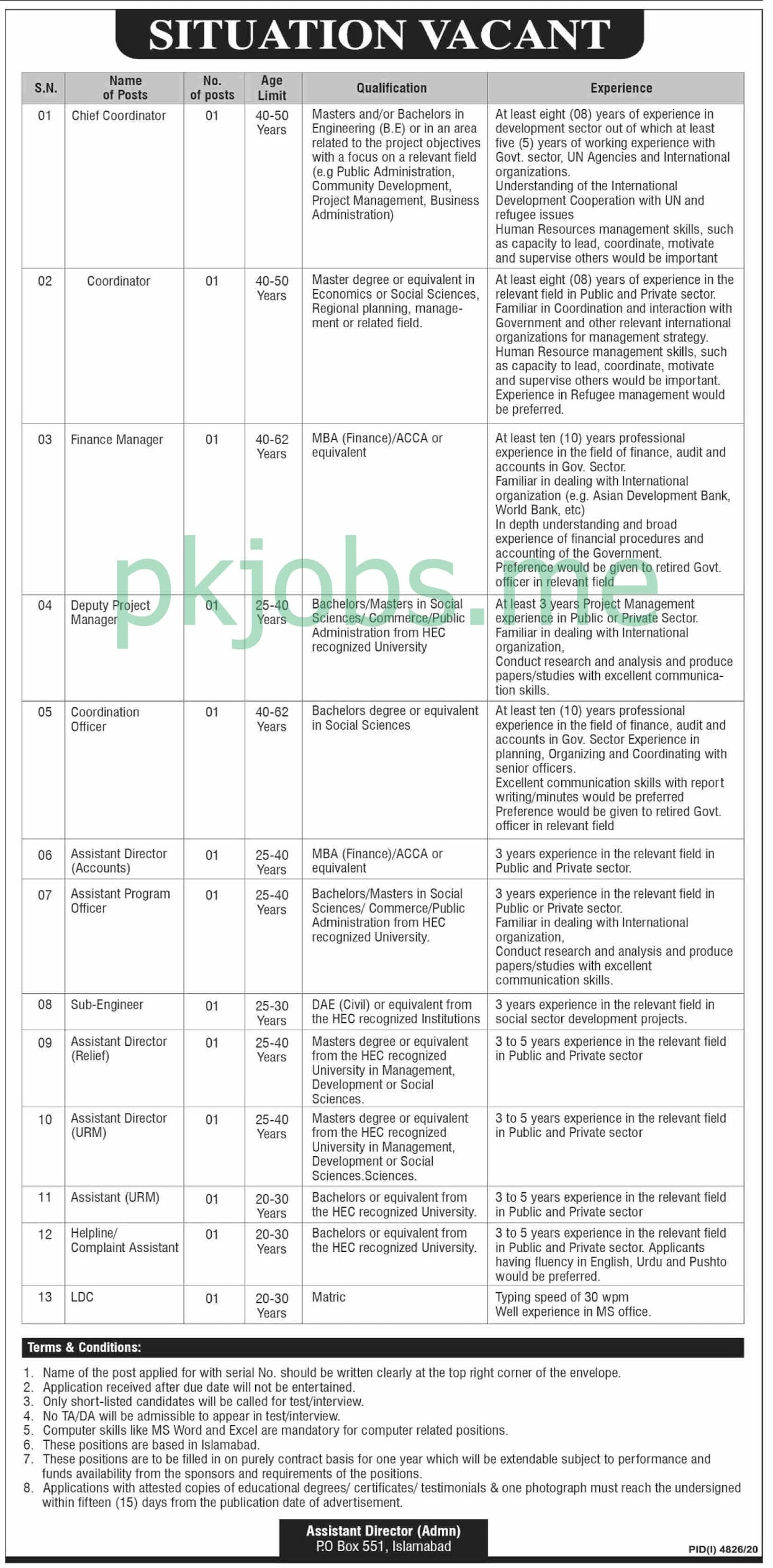 Latest PO Box 551 Islamabad Management Posts 2021