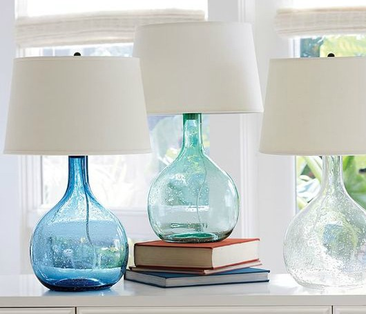 Sea Green and Blue Glass Table Lamp