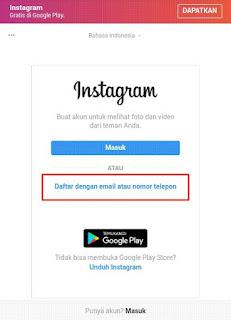 Cara Daftar Atau Membuat Akun Instagram Terbaru 2019