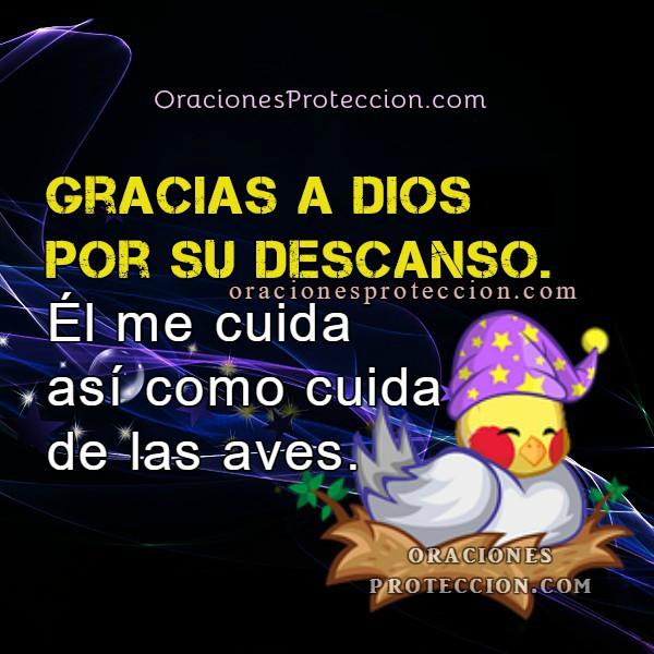 Buenas noches con oración a Dios pidiendo su protección y cuidado, dormir tranquilo, frases cristianas con imágenes por Mery Bracho.
