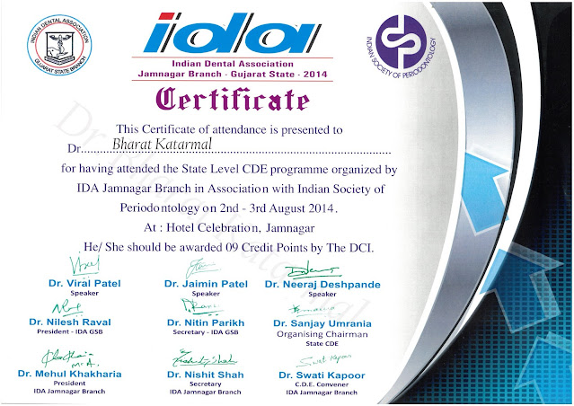 Certificate awarded to Dr. Bharat Katarmal by Indian Society of Periodontology
