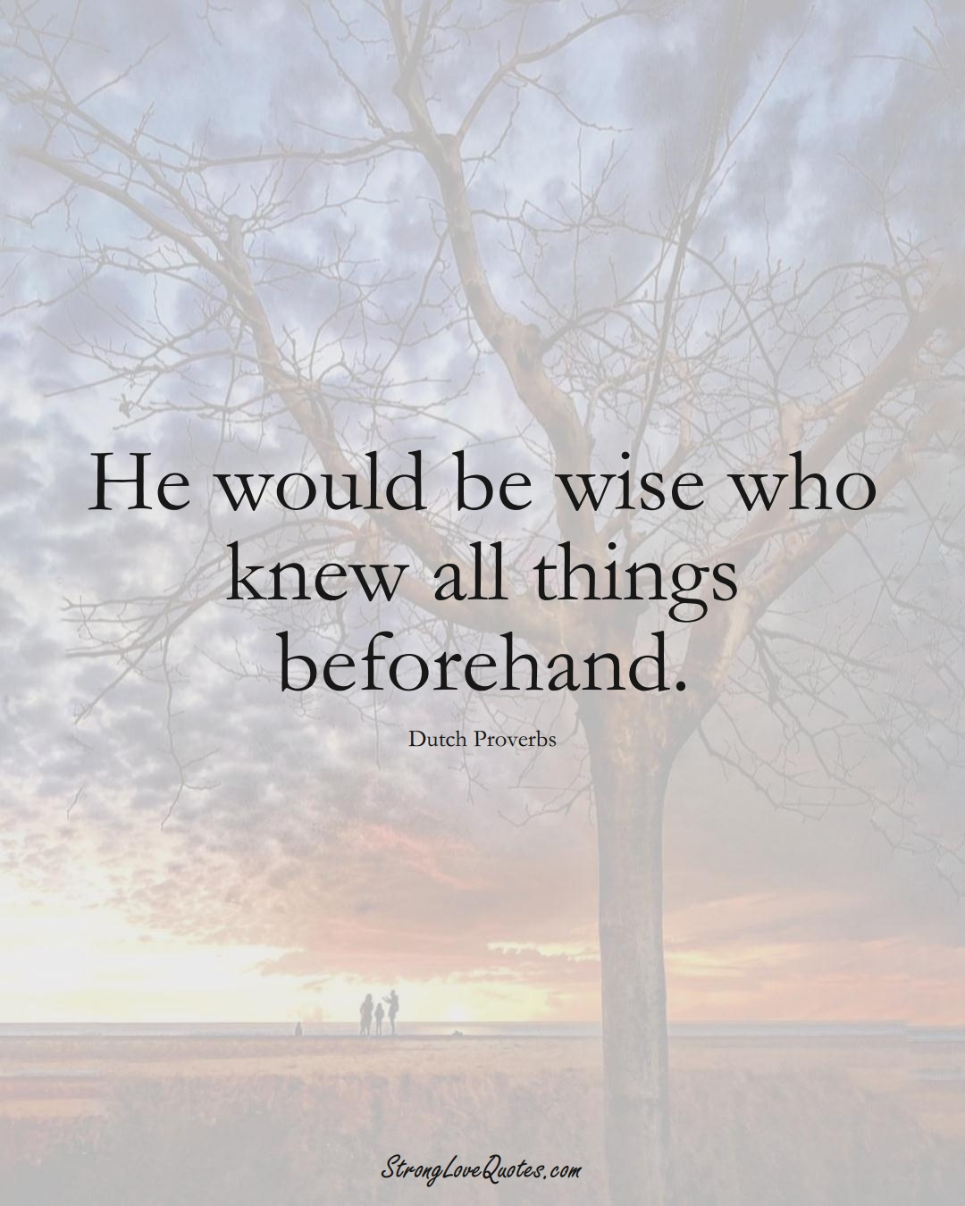 He would be wise who knew all things beforehand. (Dutch Sayings);  #EuropeanSayings