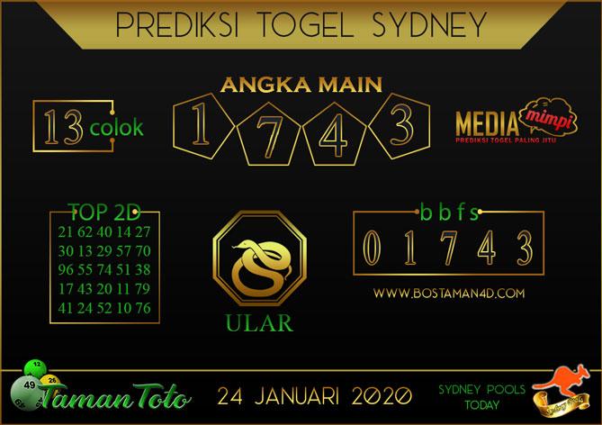 Prediksi Togel SYDNEY TAMAN TOTO 24 JANUARI 2020