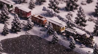 Voxel Train in Winter