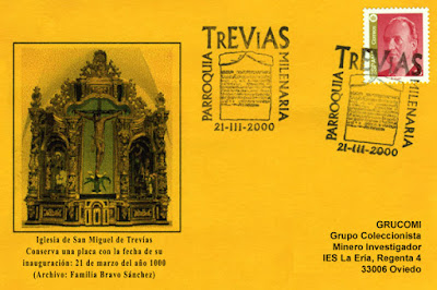 Tarjeta del matasellos de la parroquia milenaria de Trevías (concejo de Valdés)