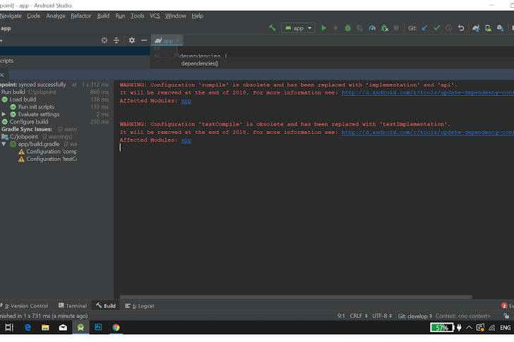 Error Configuration : Android Studio 3.1.0 - Configuration 'compile' is obsolete and has been replaced with 'implementation'